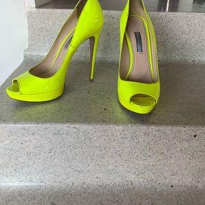 Neon green platinum Prada heels